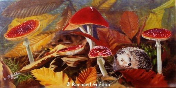 Peinture animalière,Herisson sous les champignons ,Amanites